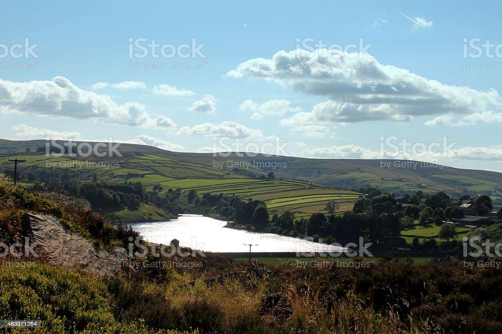 Penistone Hill towards sladen reservoir, west yorkshire, uk stock photo
