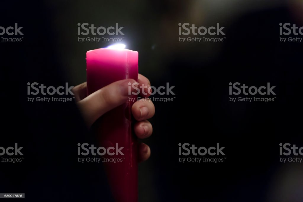 Penitent in the Spanish Holy Week procession stock photo