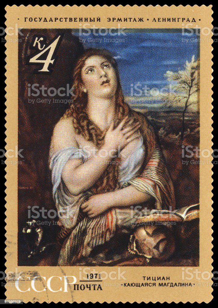 Penitent Magdalene by Tiziano Vecellio postage stamp royalty-free stock photo