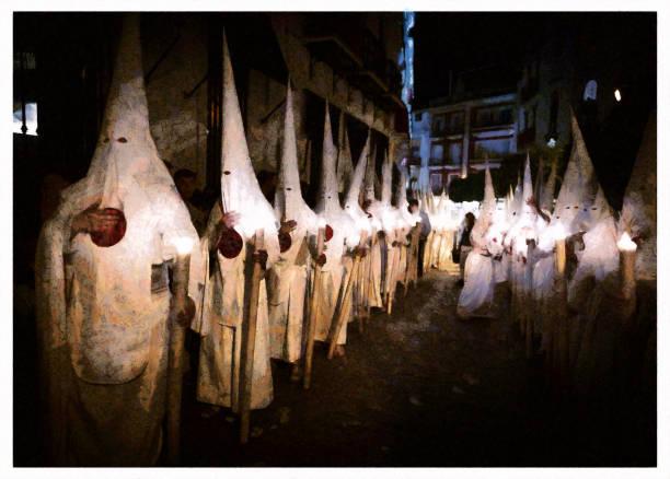 penitents heliga veckan sevilla-digital foto manipulation - easter procession spain bildbanksfoton och bilder