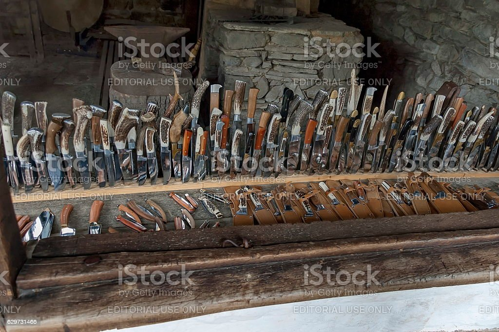 Penknife with handmade bone haft, Etar, Gabrovo stock photo