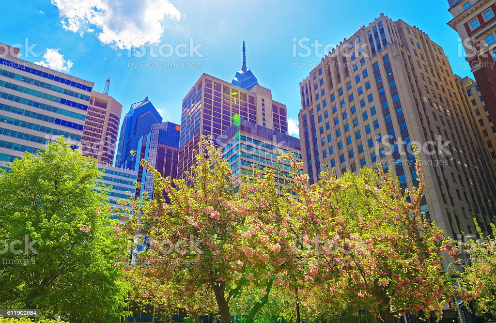 Penn Center and skyline in Philadelphia PA stock photo