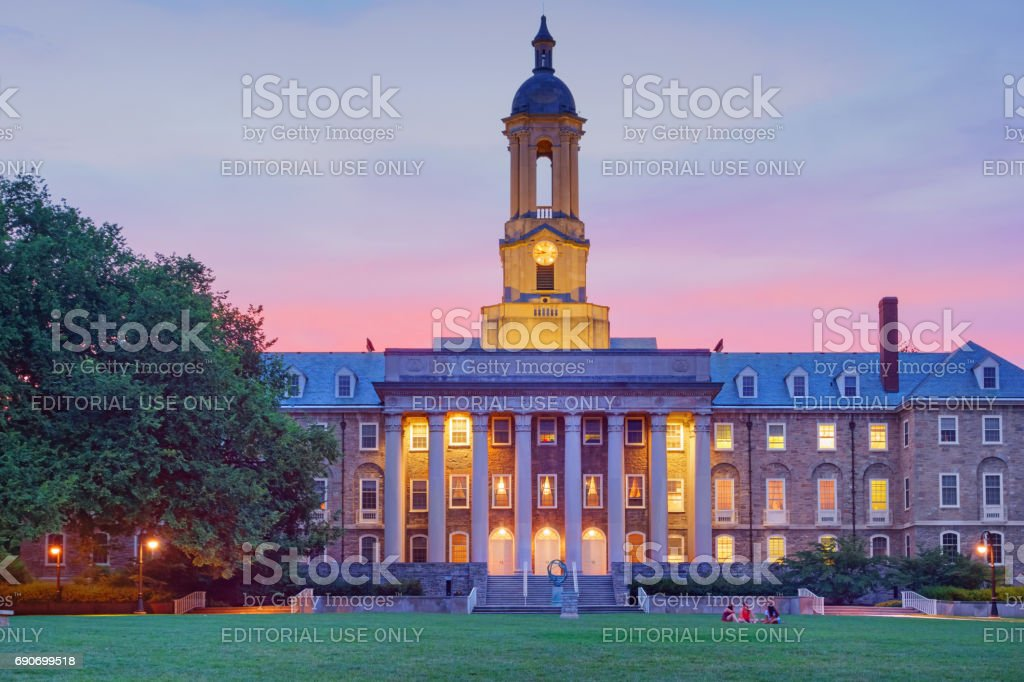 Penn State Old Main Building in State College Pennsylvania USA stock photo