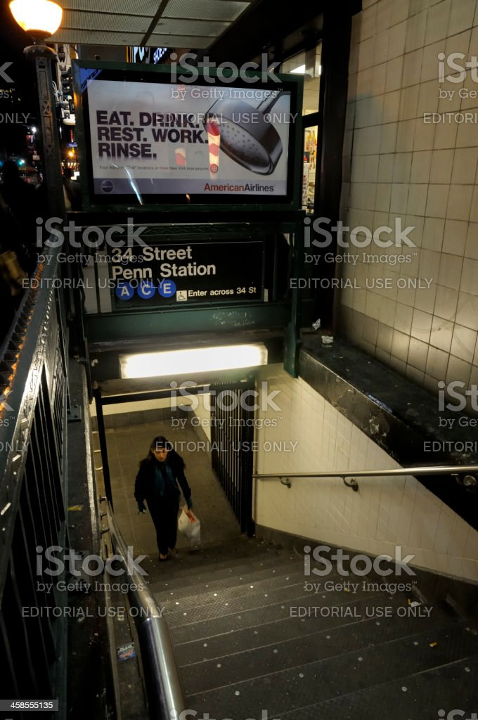 Penn Station Subway Entrance on 34th Street in NYC stock photo