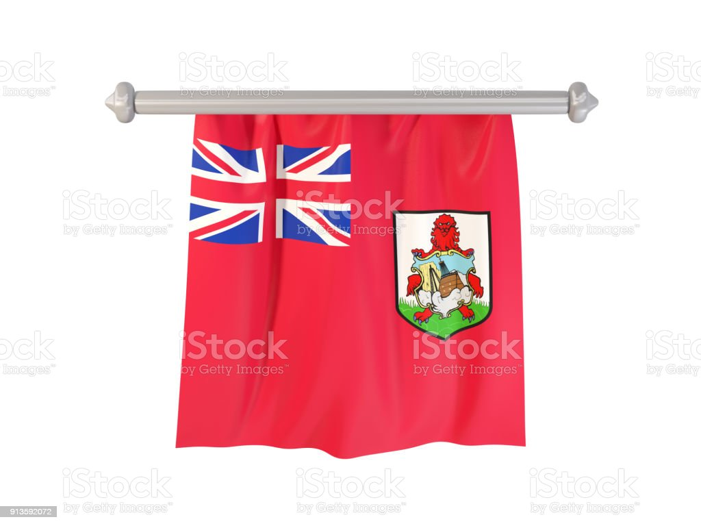 Pennant with flag of bermuda stock photo