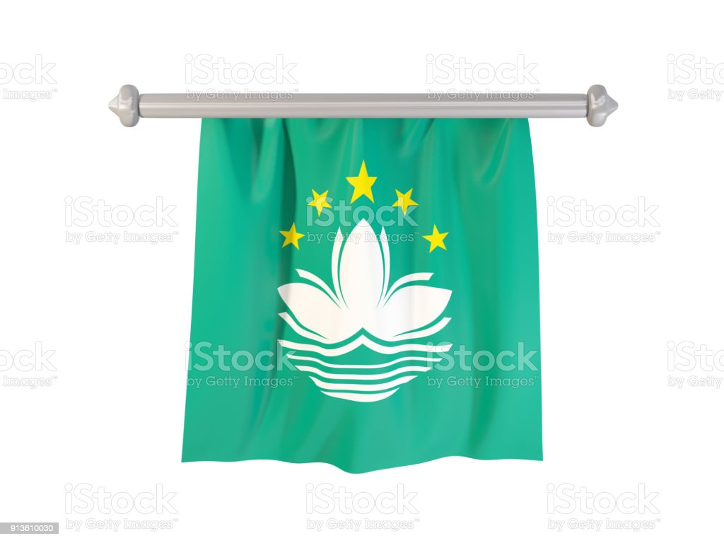Pennant with flag of macao stock photo
