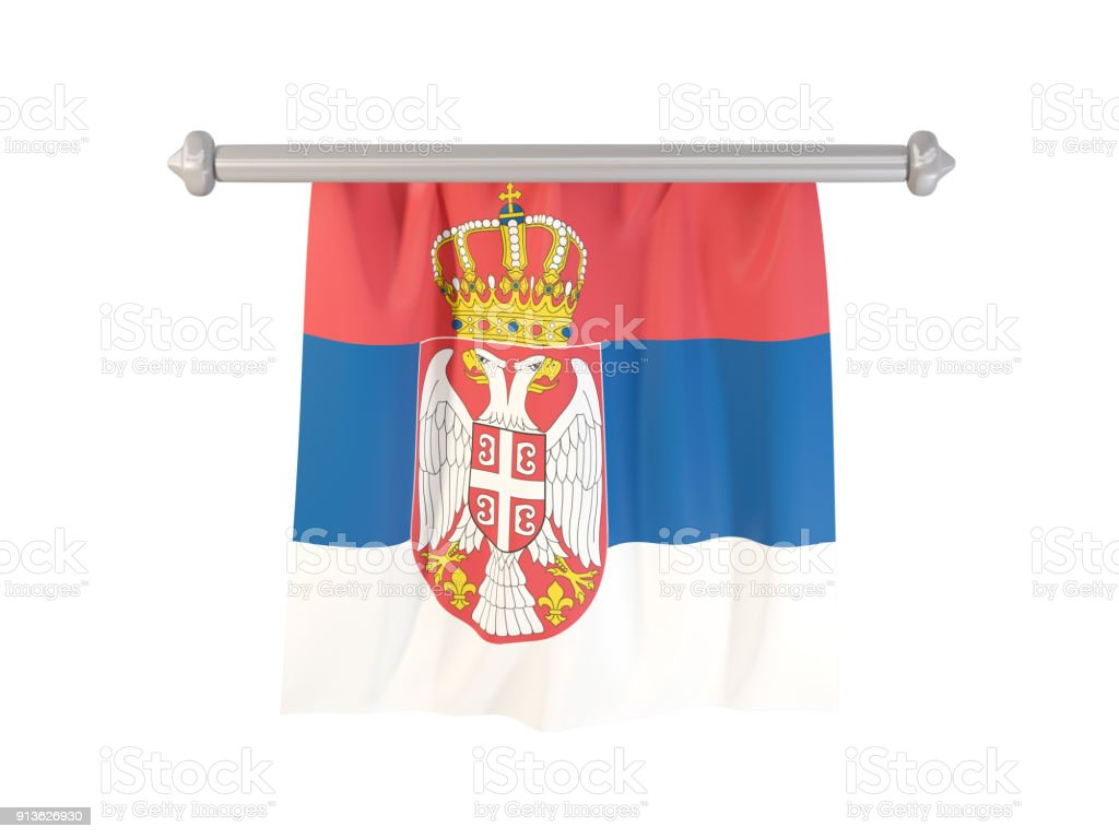 Pennant with flag of serbia - fotografia de stock
