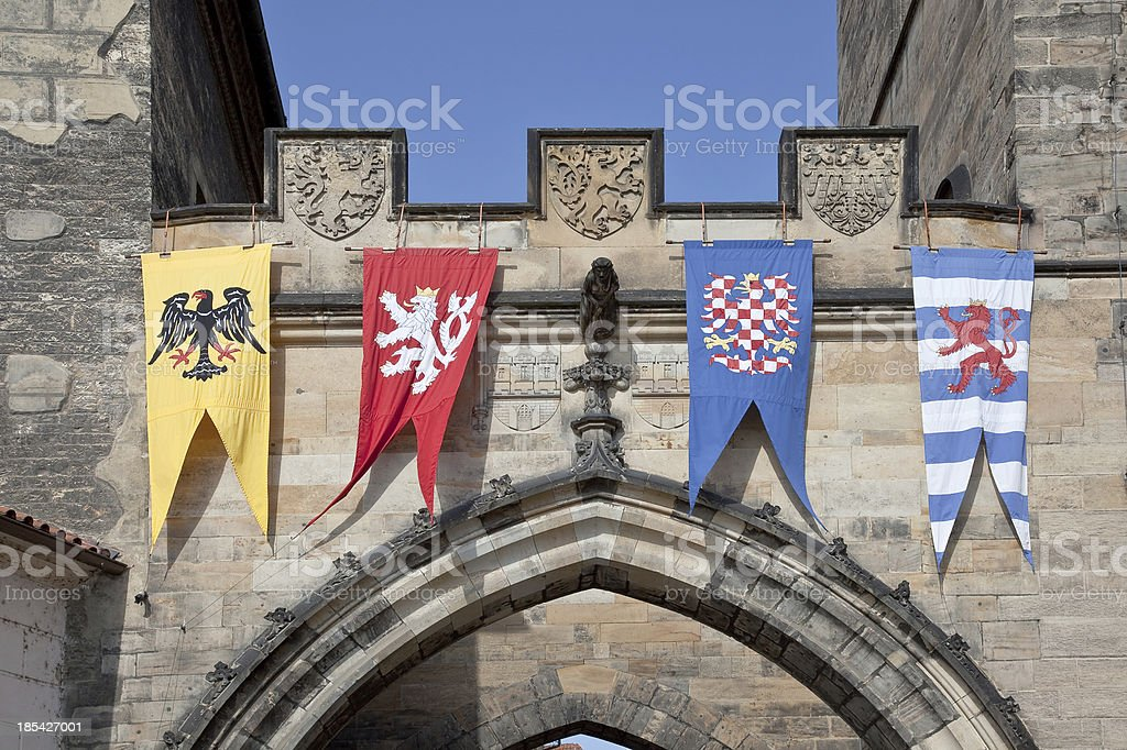 Pennants with the coat  arms of city Prague a tower stock photo