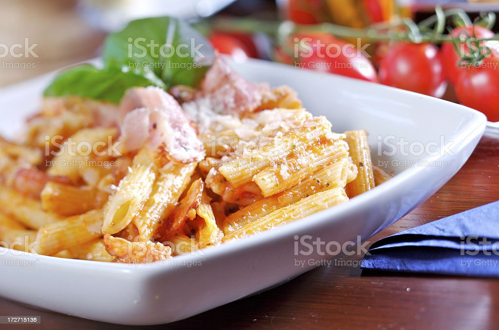 Penne in tomato sauce royalty-free stock photo