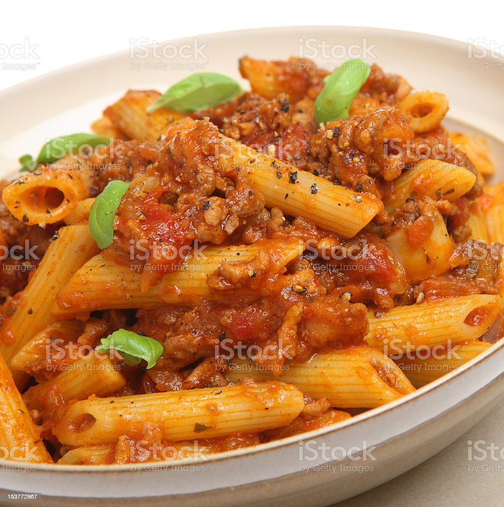 Penne Pasta with Bolognaise Sauce stock photo
