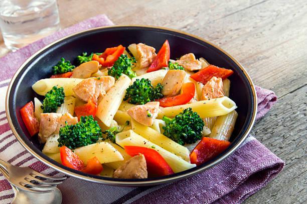 penne pasta with chicken and vegetables - gesunde huhn pasta stock-fotos und bilder