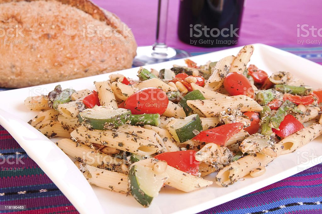 Penne Pasta with Roasted Vegetables royalty-free stock photo