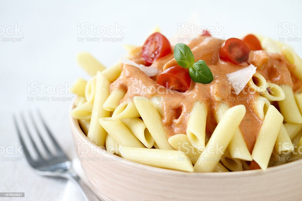 Penne Pasta with Tomato Cream Sauce royalty-free stock photo