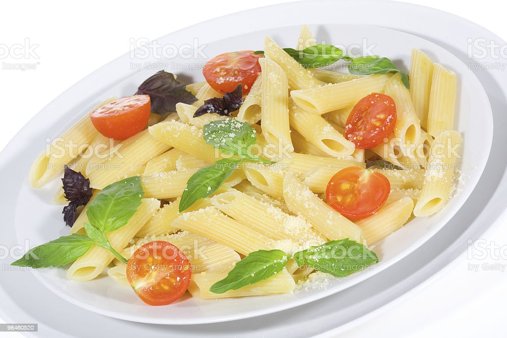 Penne pasta with vegetables royalty-free stock photo