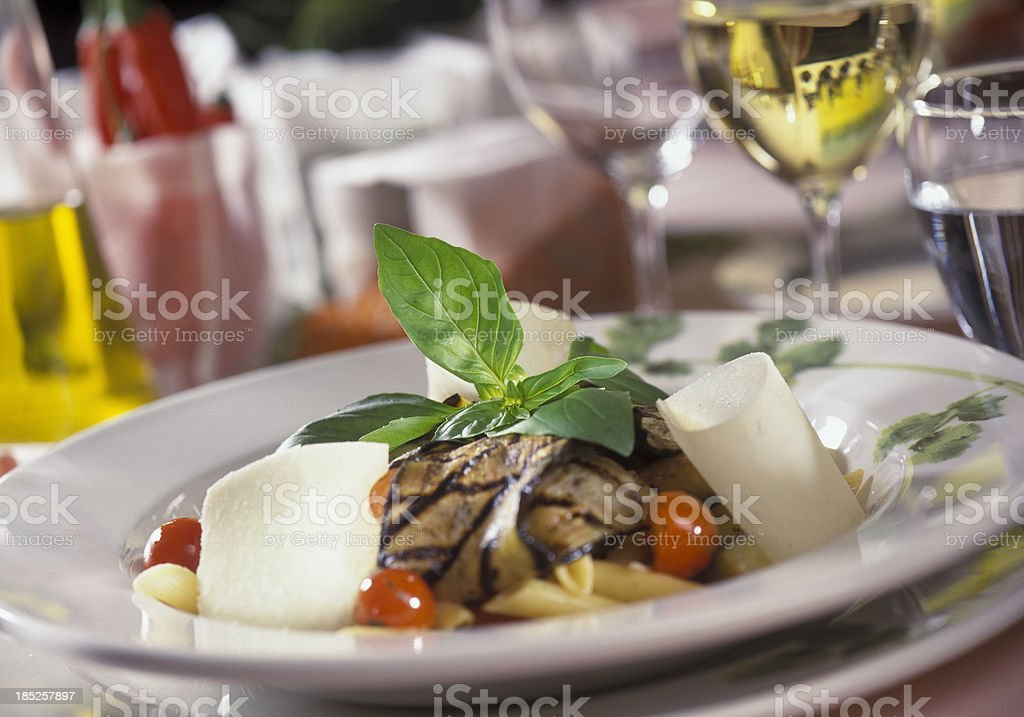 penne with grilled eggplant and parmesan cheese royalty-free stock photo