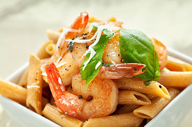 Penne with Shrimp stock photo