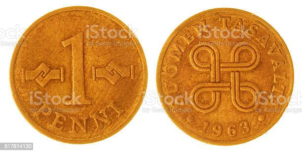 1 penni 1963 coin isolated on white background, Finland