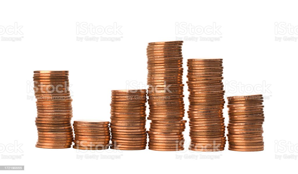 Pennies Bar Graph - Uncertainty Isolated royalty-free stock photo