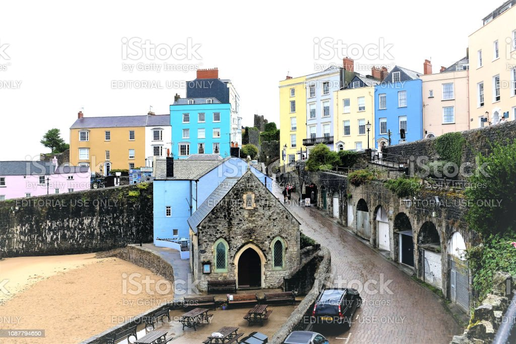 Penniless cove hill at Tenby in Wales. stock photo