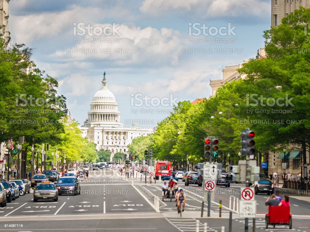 Pennsylvania Avenue and United States Capitol, Washington, D.C. USA stock photo