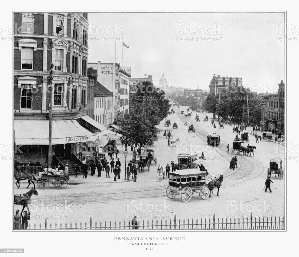 Pennsylvania Avenue, Washington, D.C., United States, Antique American Photograph, 1893 stock photo