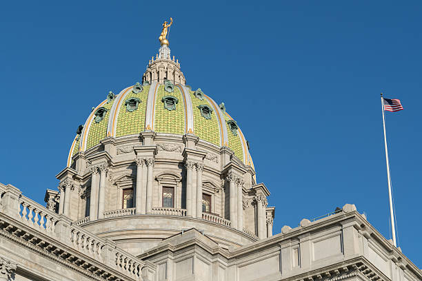 Pennsylvania Capitol Dome Dome of the Pennsylvania State Capitol building Harrisburg, PA state capitol building stock pictures, royalty-free photos & images