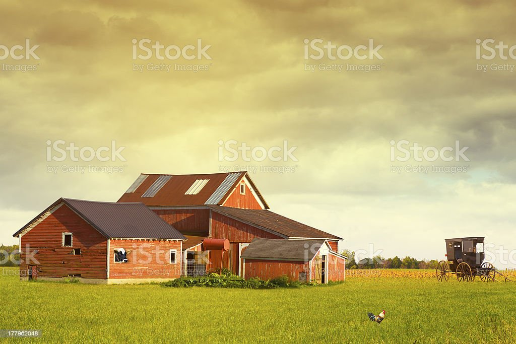 Pennsylvania Farmland With Rainy Sky stock photo