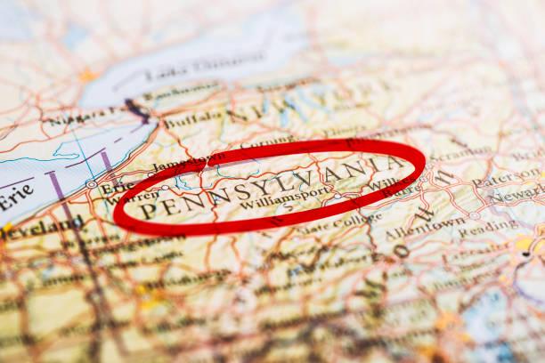 Pennsylvania Marked on Map stock photo