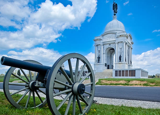 Pennsylvania Memorial and Civil War Cannon on Gettysburg Battlefield stock photo