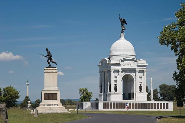 Pennsylvania Monument, Gettysburg Battlefield stock photo