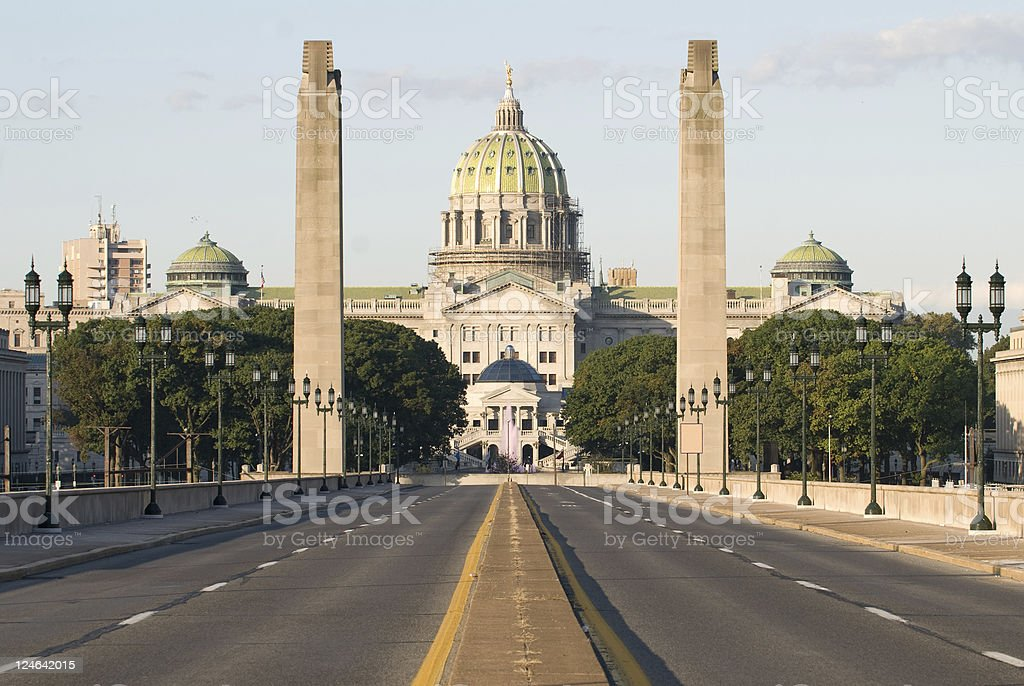 Pennsylvania State Capitol on a clear day stock photo