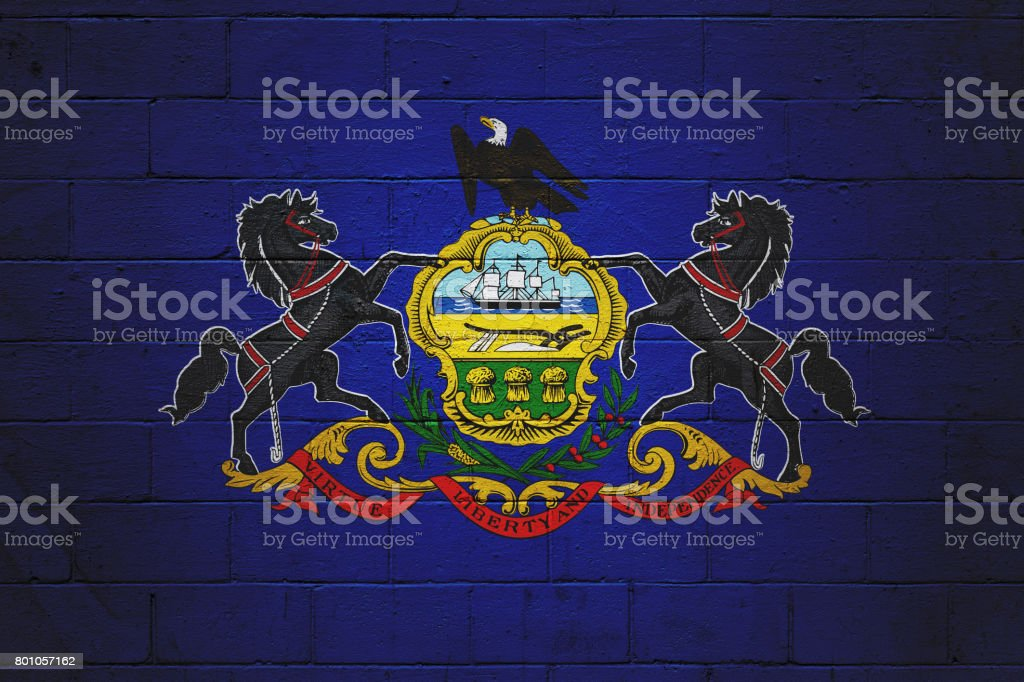 Pennsylvania state flag painted on a wall stock photo