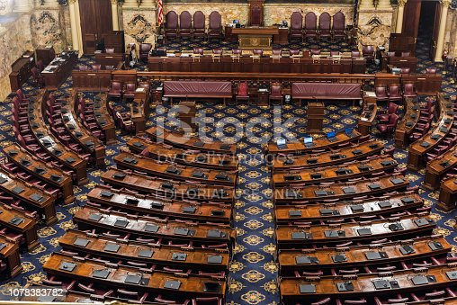 Harrisburg, Pennsylvania - July 16, 2018: The Chamber of the House of Representatives in the Pennsylvania State Capitol.