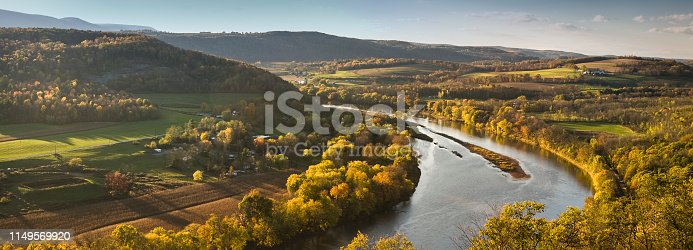 River runs through a farmland valley in Pennsyvania USA