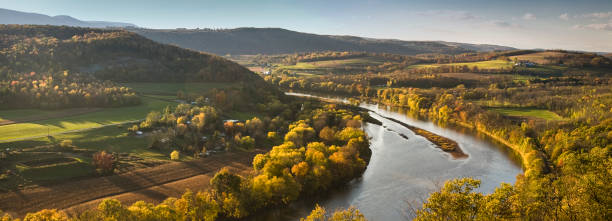 Pennsylvania valley and river panoramic in autumn stock photo