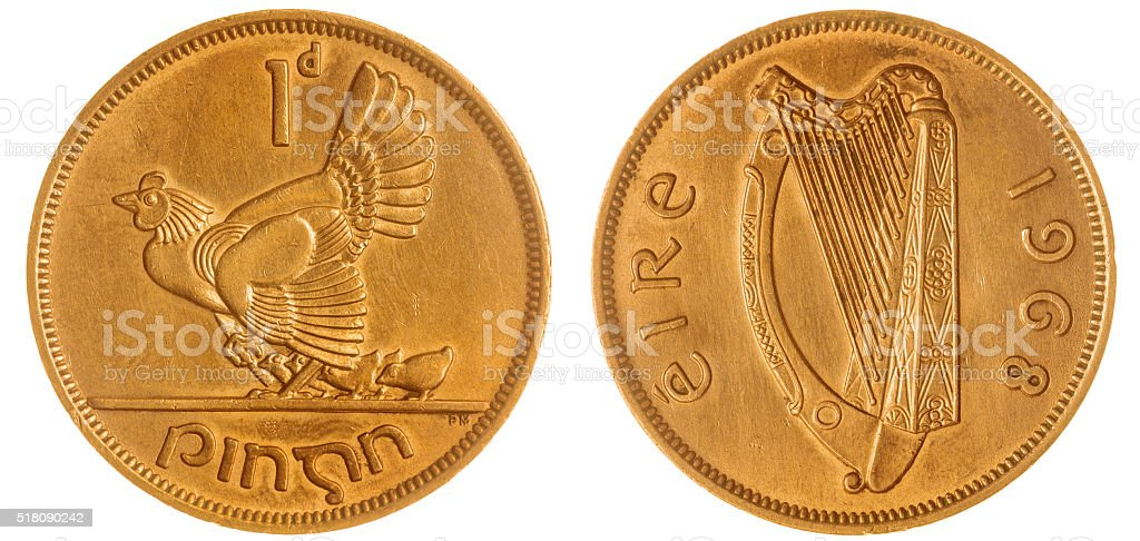 1 penny 1968 coin isolated on white background, Ireland stock photo