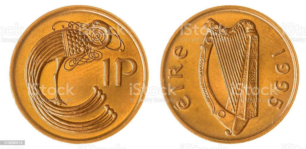 1 penny 1995 coin isolated on white background, Ireland stock photo