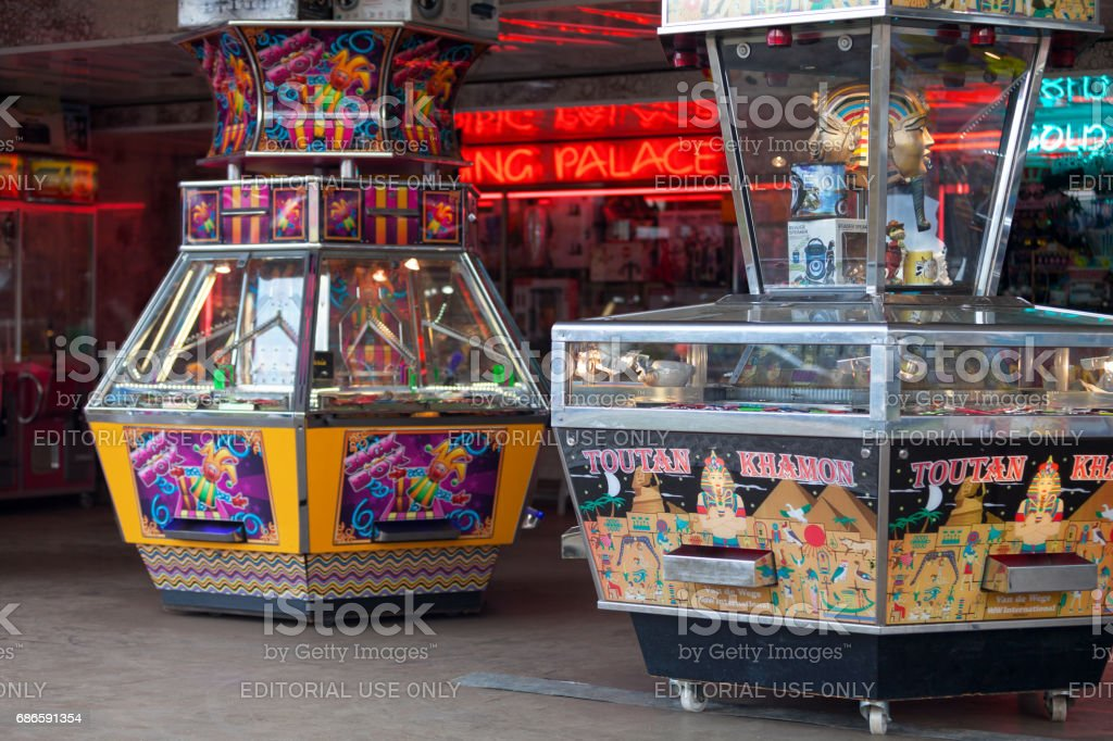 Penny Falls Arcade Machines stock photo