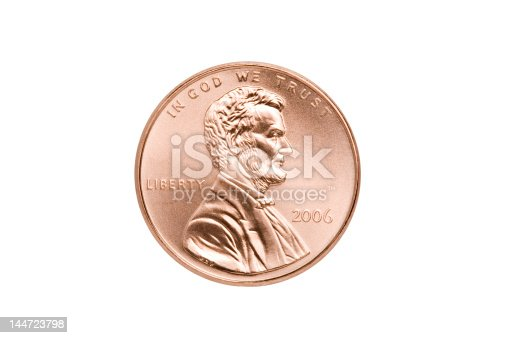 penny macro isolated on white - front side with Abraham Lincoln