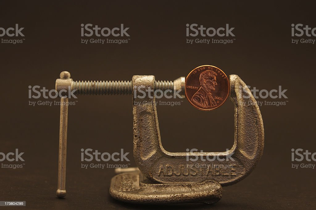 Penny pincher front stock photo