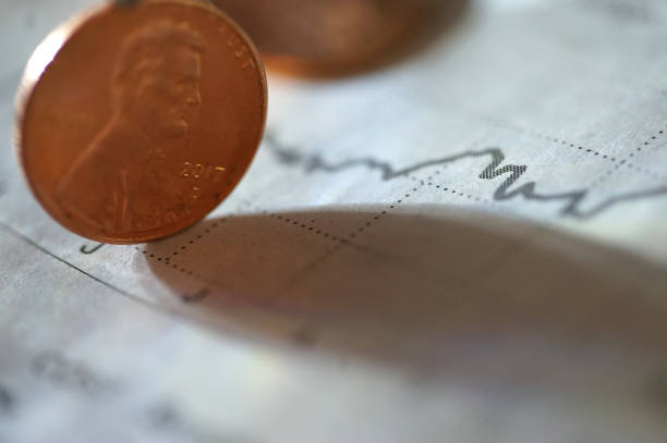 penny stock shot of penny on chart 40 kilometre stock pictures, royalty-free photos & images