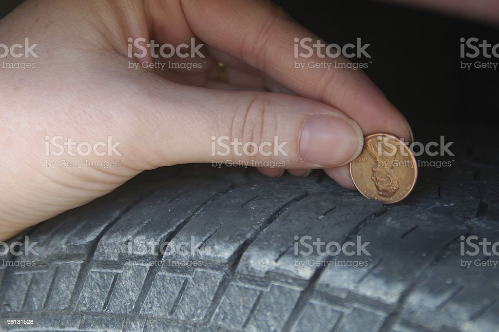 penny tire tread test royalty-free stock photo