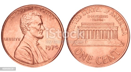 US Penny coin isolated on white with clipping path