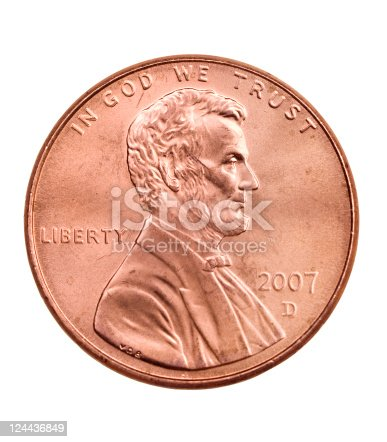 Macro of heads side of penny on white