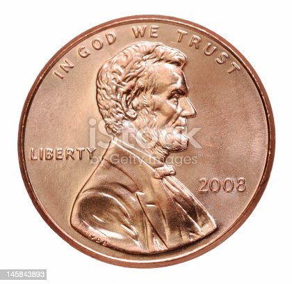 The smallest denomination US coin, with a nicely sculpted portrait of the great emancipator.