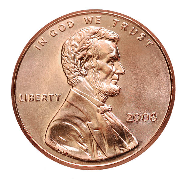2008 penny with president lincoln on a white background - 美國硬幣 個照片及圖片檔