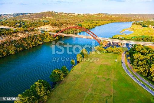 501329818istockphoto Pennybacker 360 bridge, Colorado River, Austin Texas, aerial panorama 501329852
