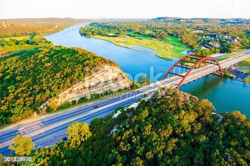 501329818istockphoto Pennybacker 360 bridge, Colorado River, Austin Texas, aerial panorama 501329976