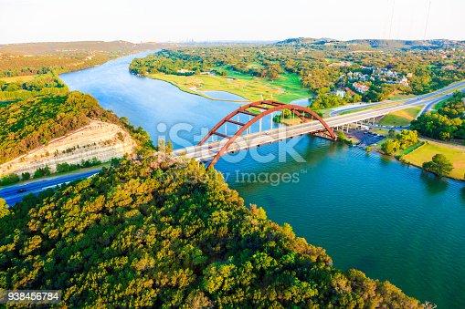 501329818istockphoto Pennybacker 360 bridge, Colorado River, Austin Texas, aerial panorama 938456784
