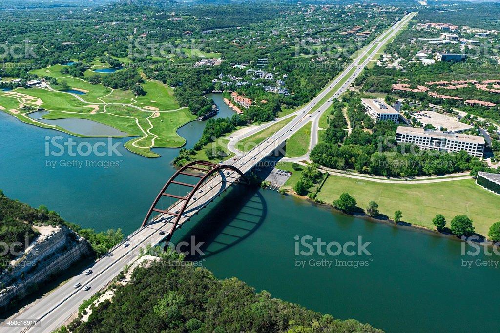 Pennybacker 360 bridge on Colorado River near Austin Texas stock photo